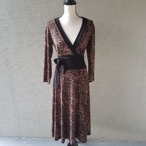 Connected Apparel Brown Front Tie maxi Dress